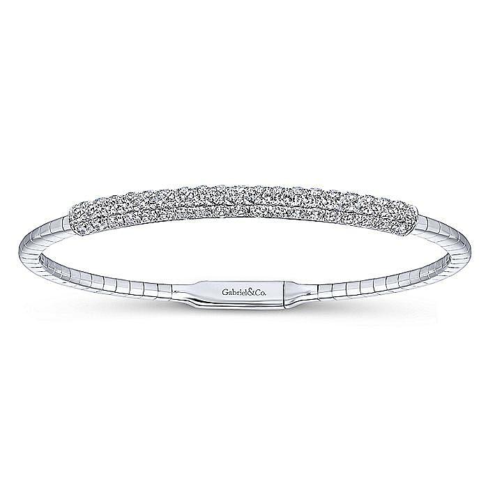 14K White Gold Diamond Bangle