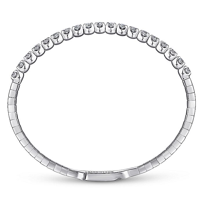 14K White Gold Diamond Bangle