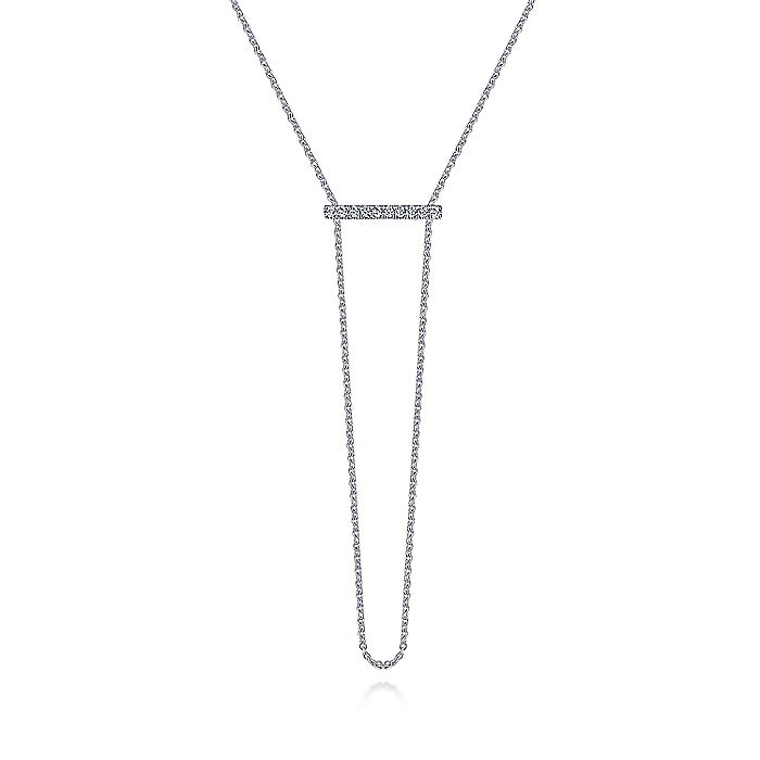14K White Gold Diamond Bar Necklace with Chain Drop
