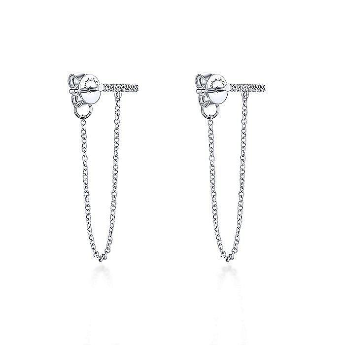 14K White Gold Diamond Bar Stud and Chain Linear Earrings
