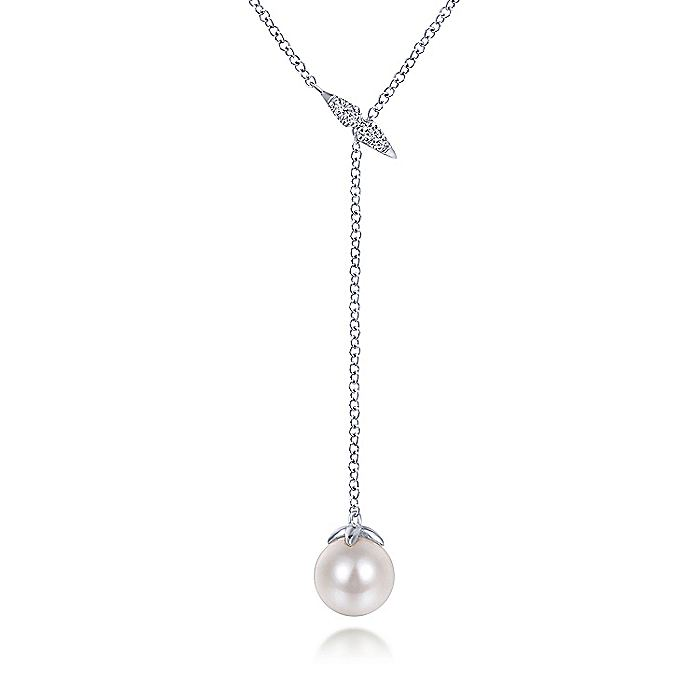 14K White Gold Diamond Bar Y Necklace with Cultured Pearl Drop