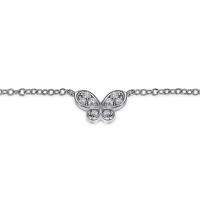 14K White Gold Diamond Butterfly Chain Bracelet