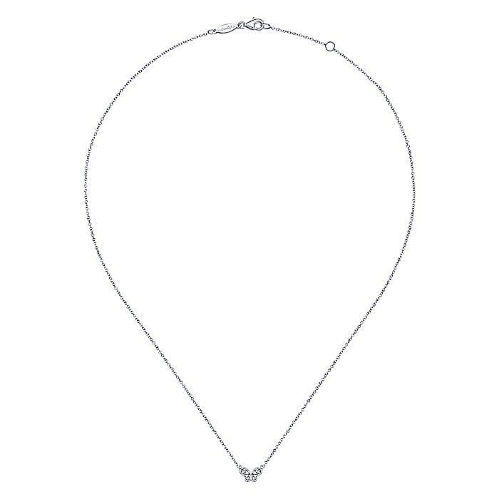 14K White Gold Diamond Butterfly Pendant Necklace