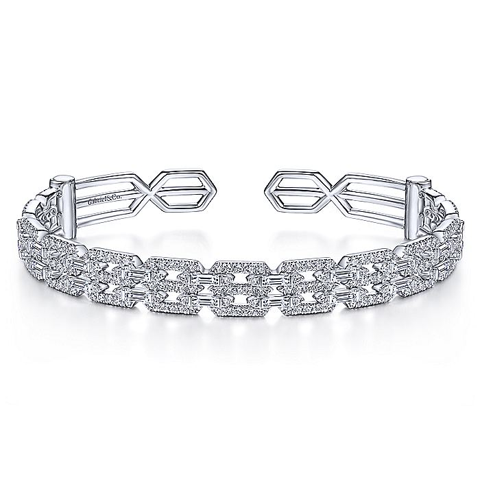 14K White Gold Diamond Chain Link Cuff Bracelet with Diamond Baguette Spacers
