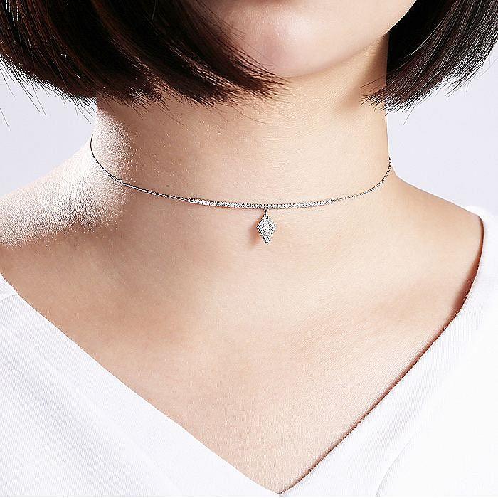 14K White Gold Diamond Charm Choker Necklace