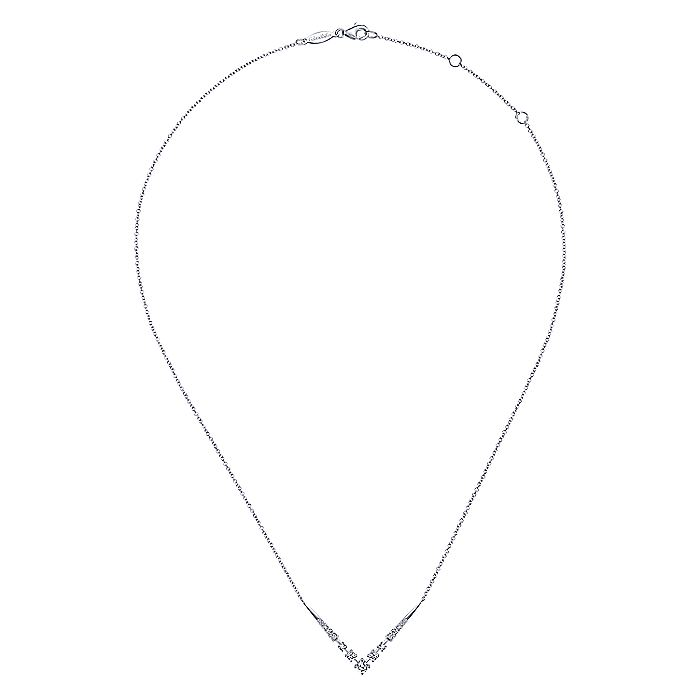 14K White Gold Diamond Chevron Necklace