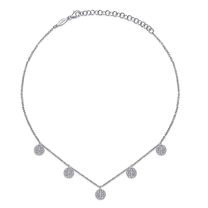 14K White Gold Diamond Choker Necklace 11.5-14.5