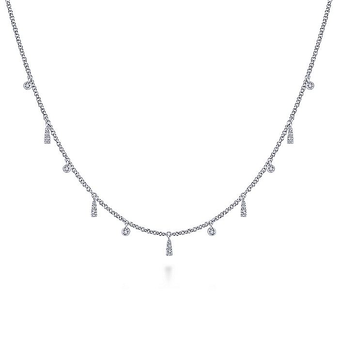 14K White Gold Diamond Choker Necklace with Diamond Bezel and Bar Drops