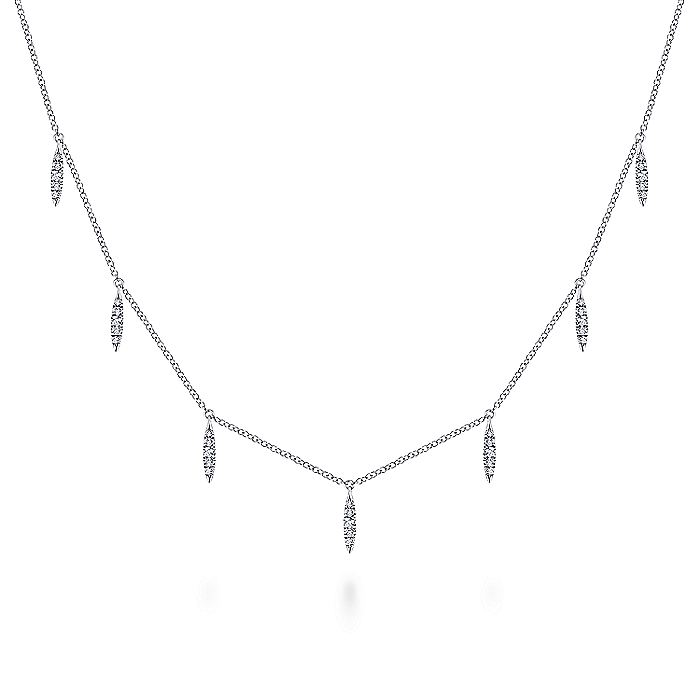 14K White Gold Diamond Choker Necklace with Diamond Spike Drops