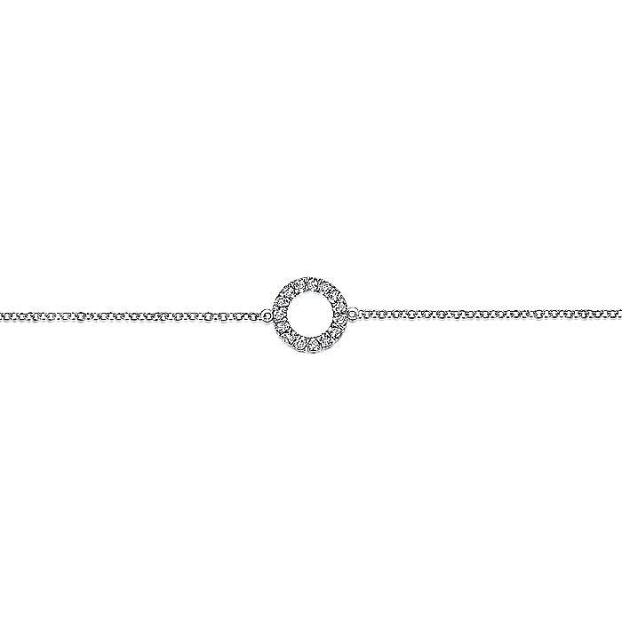 14K White Gold Diamond Circle Chain Bracelet