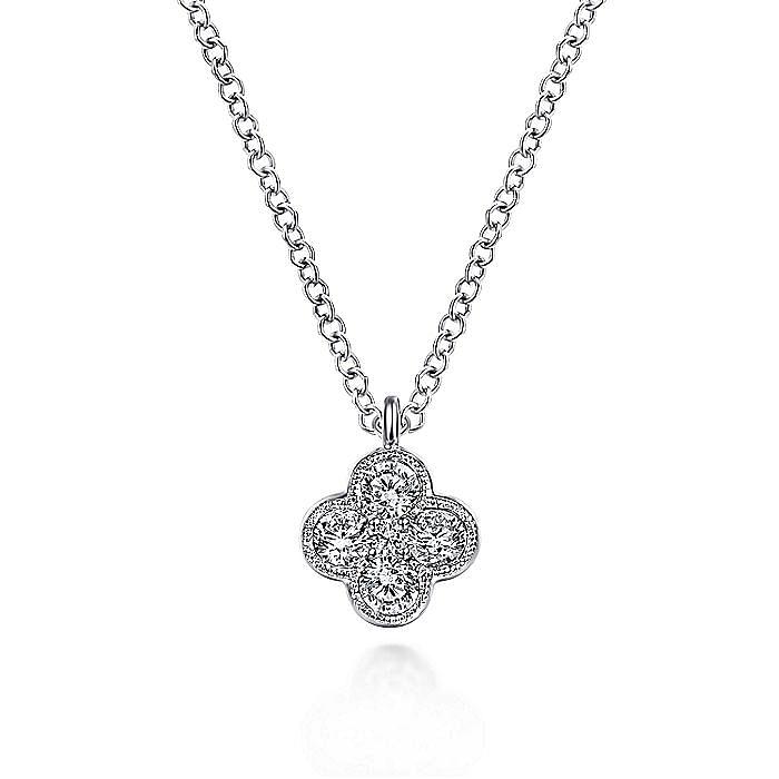 14K White Gold Diamond Clover Pendant Necklace