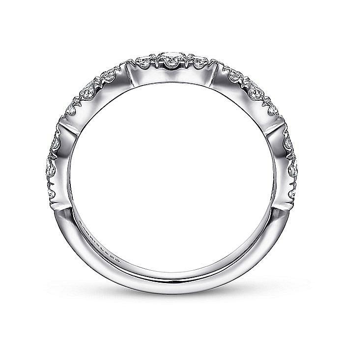 14K White Gold Diamond Cluster Marquis Station Ring