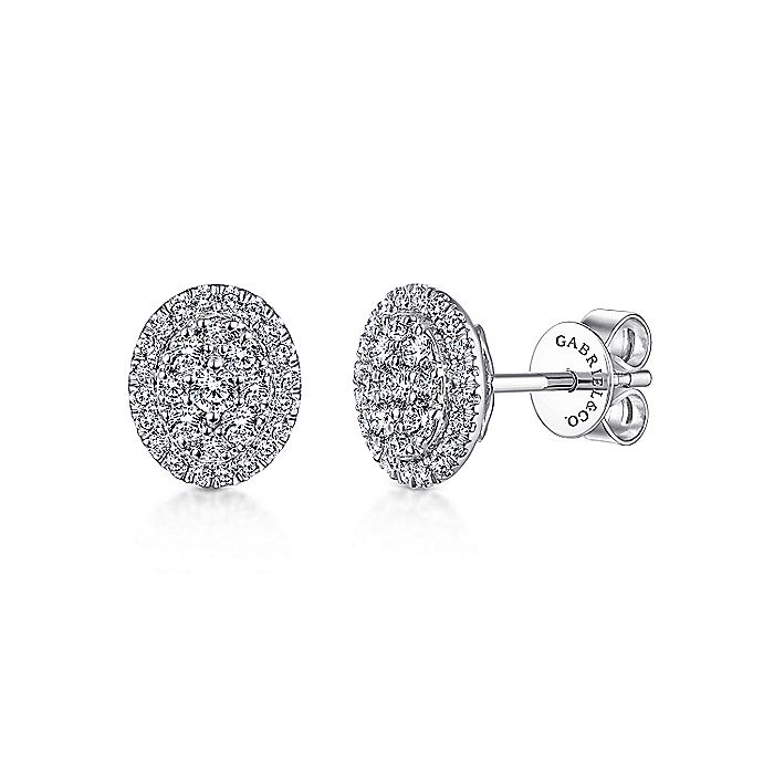 14K White Gold Diamond Cluster Oval Stud Earrings
