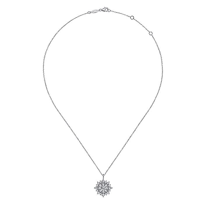 14K White Gold Diamond Cluster Pendant Necklace