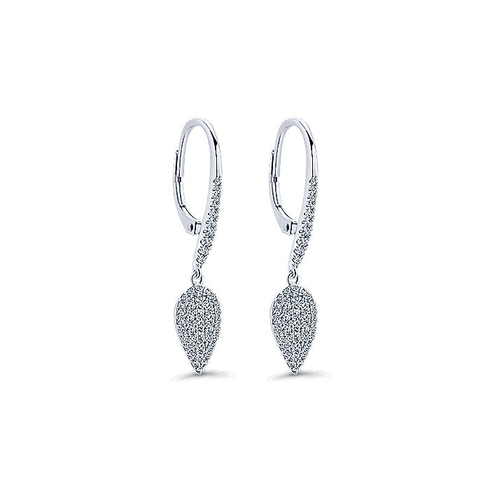 14K White Gold Diamond Cluster Teardrop Drop Earrings