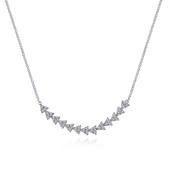 14K White Gold Diamond Cluster Triangle Station Necklace