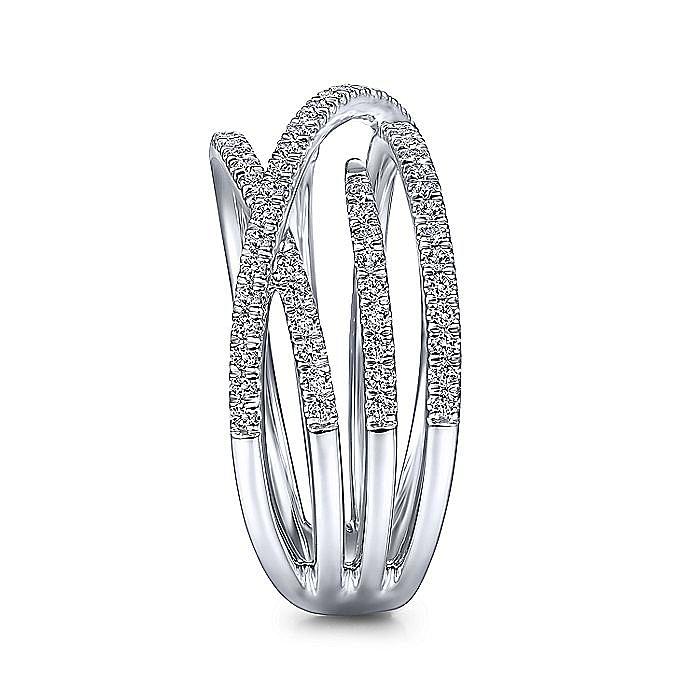14K White Gold Diamond Criss Cross Ring