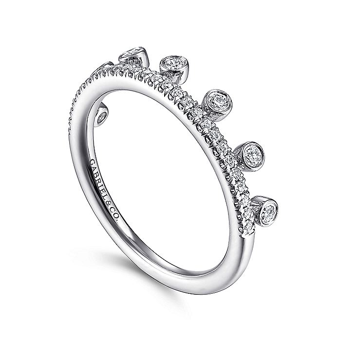 14K White Gold Diamond Crown Stackable Ring