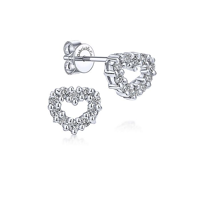 14K White Gold Diamond Earring
