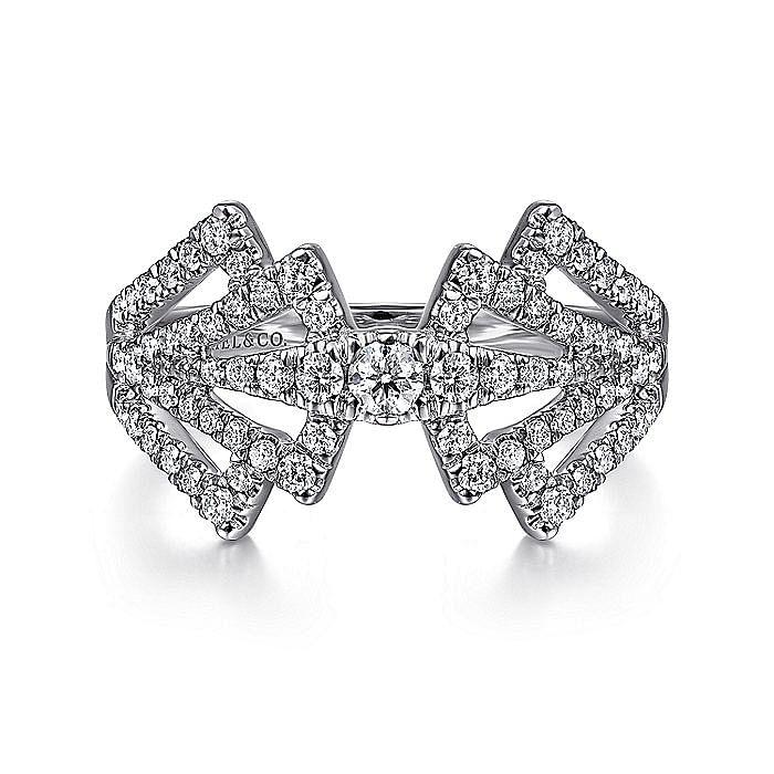 14K White Gold Diamond Fan Corset Ring