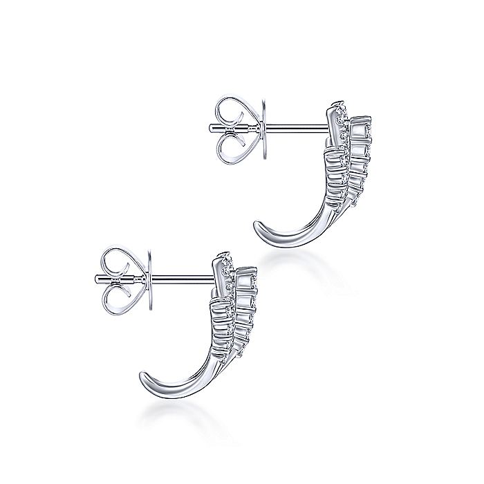 14K White Gold Diamond Fan Stud Earrings