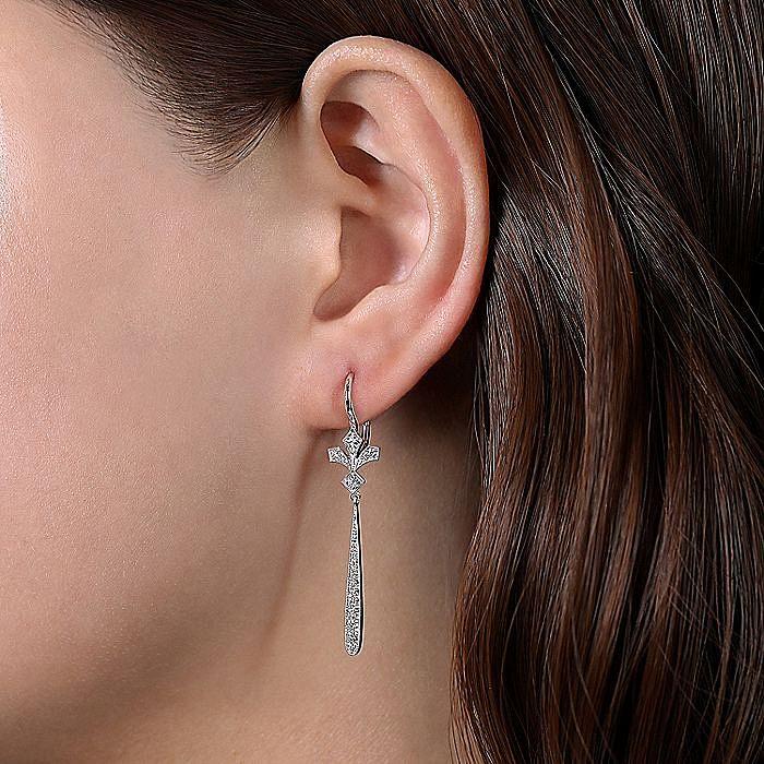 14K White Gold Diamond Fan and Long Bar Drop Earrings
