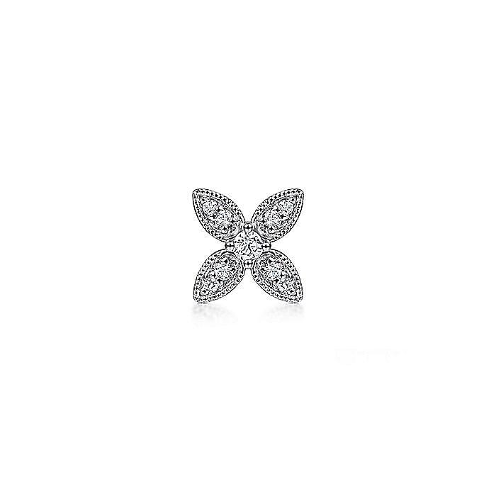 14K White Gold Diamond Flower Single Stud Earring