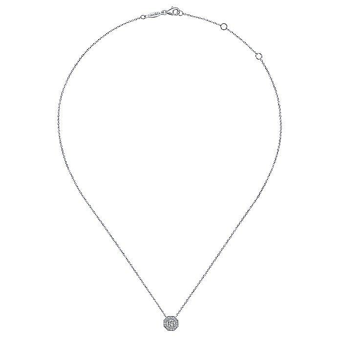 14K White Gold Diamond Halo Pendant Necklace