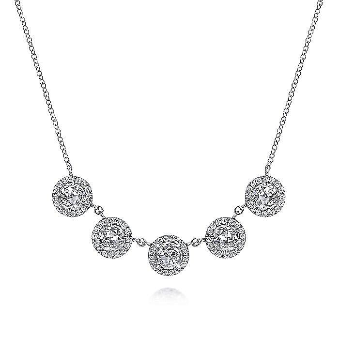 14K White Gold Diamond Halo and  White Topaz   Station Necklace