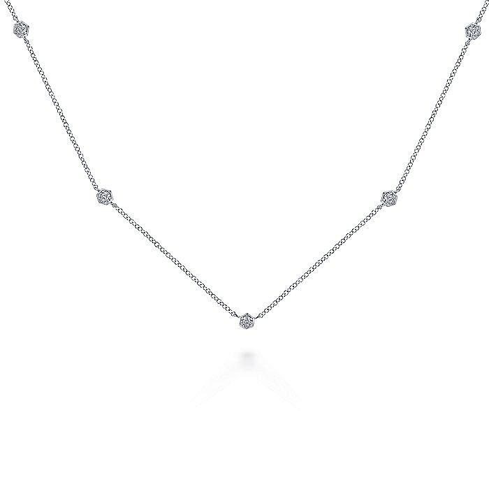 14K White Gold Diamond Hexagon Station Necklace