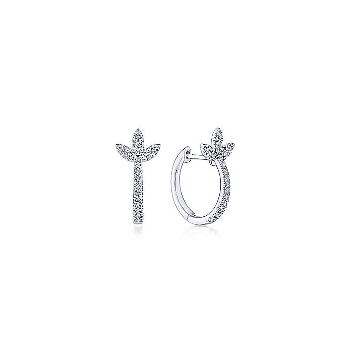 14K White Gold Diamond Huggie Earrings with Floral Accents