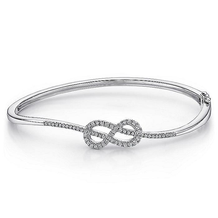 14K White Gold Diamond Infinity Bangle