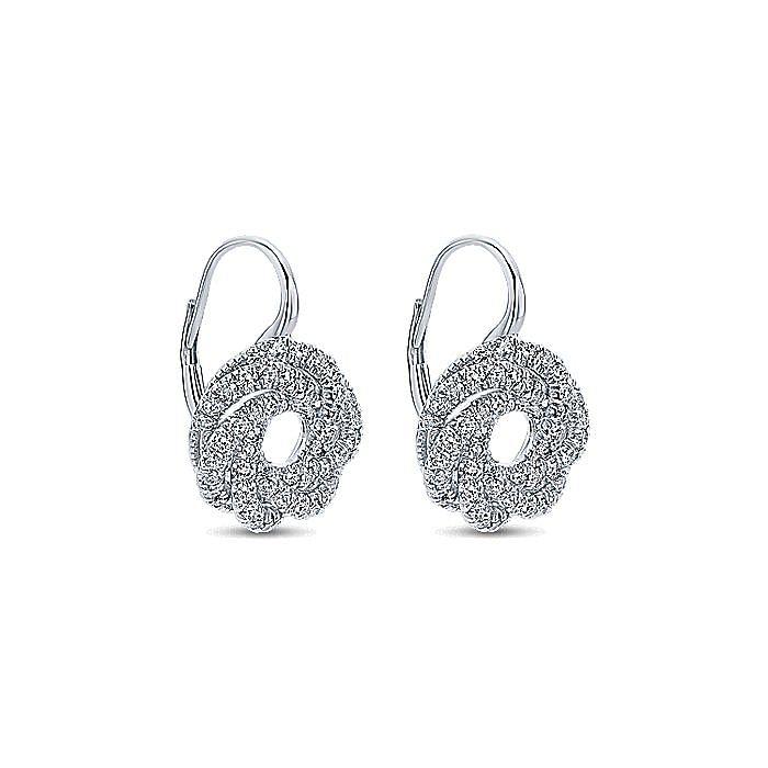 14K White Gold Diamond Knot Drop Earrings