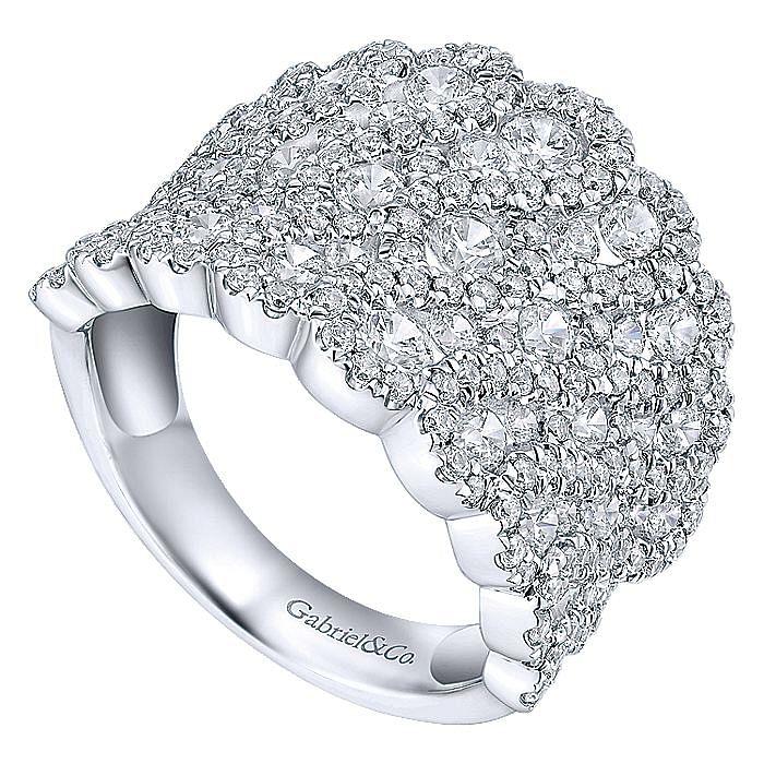 14K White Gold Diamond Ladies Ring