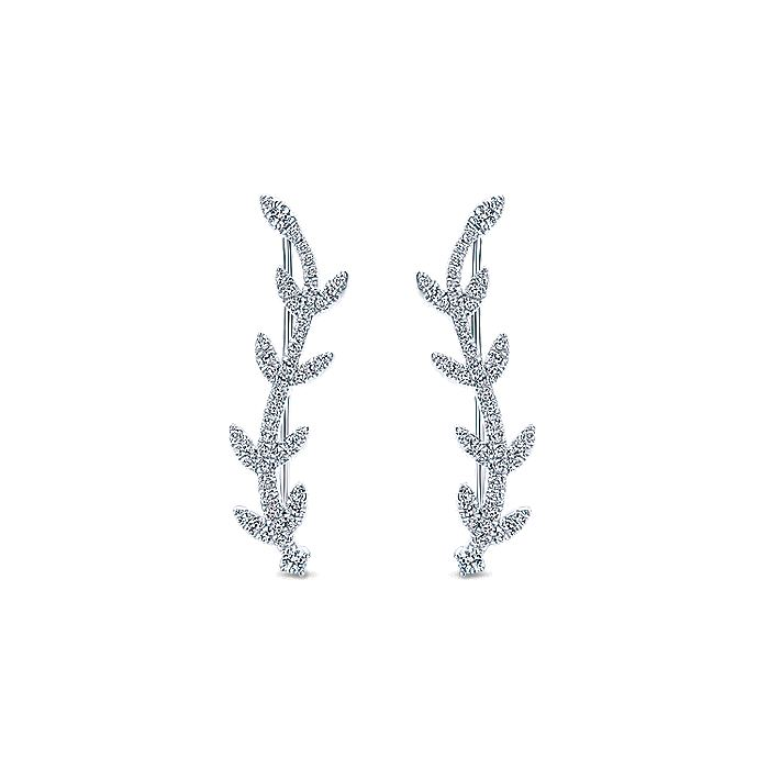 14K White Gold Diamond Leaf Ear Climber Earrings