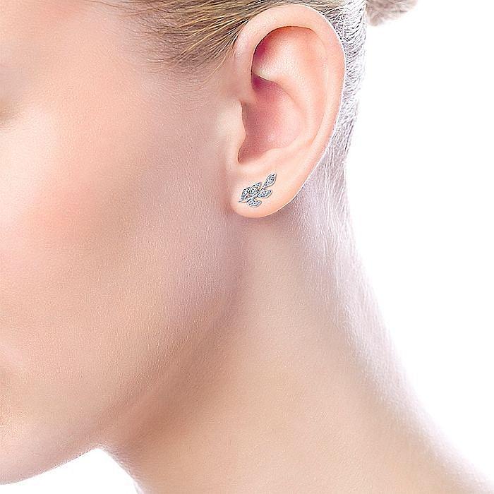 14K White Gold Diamond Leaf Stud Earrings