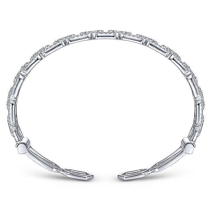 14K White Gold Diamond Link Cuff with Diamond Baguette Spacers