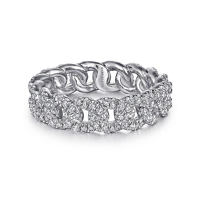 14K White Gold Diamond Link Eternity Ring