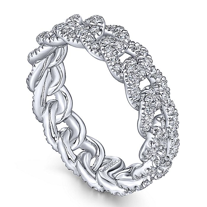 14K White Gold Diamond Link Eternity Ring