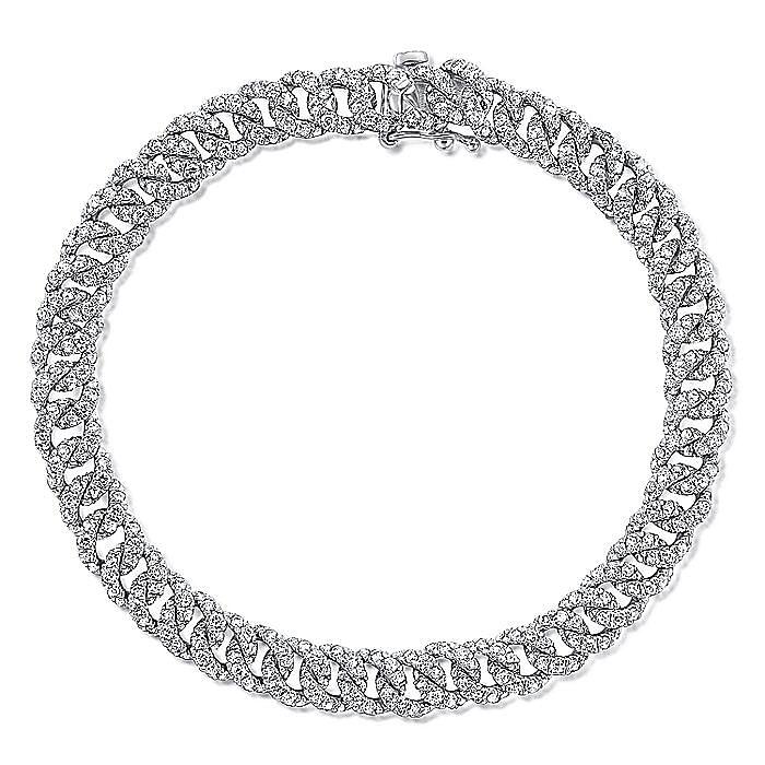 14K White Gold Diamond Link Tennis Bracelet