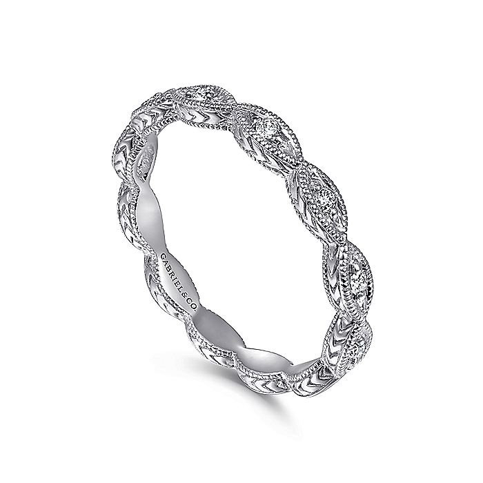 14K White Gold Diamond Marquise Station Ring