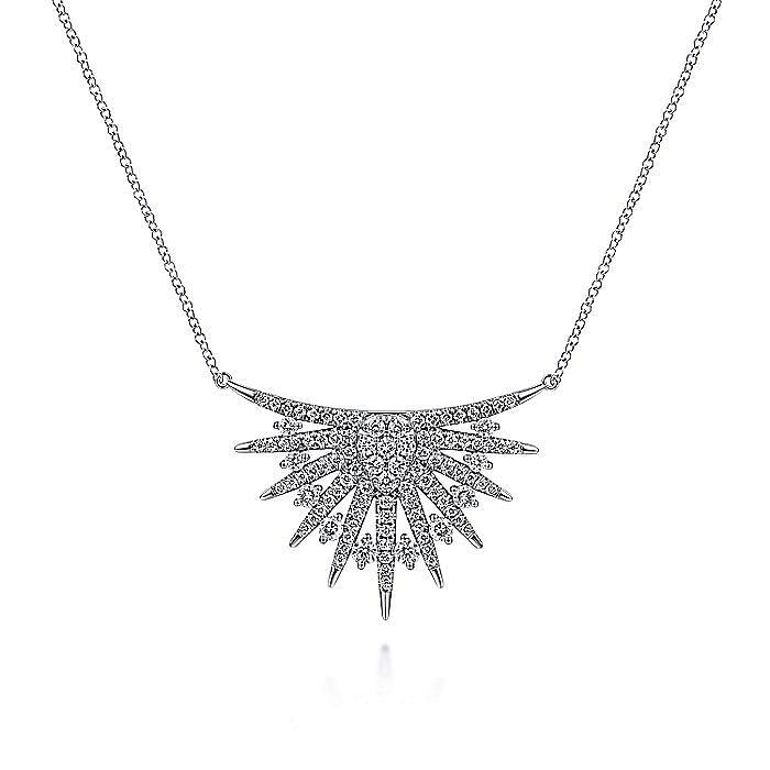 14K White Gold Diamond Mini Bib Pendant Necklace