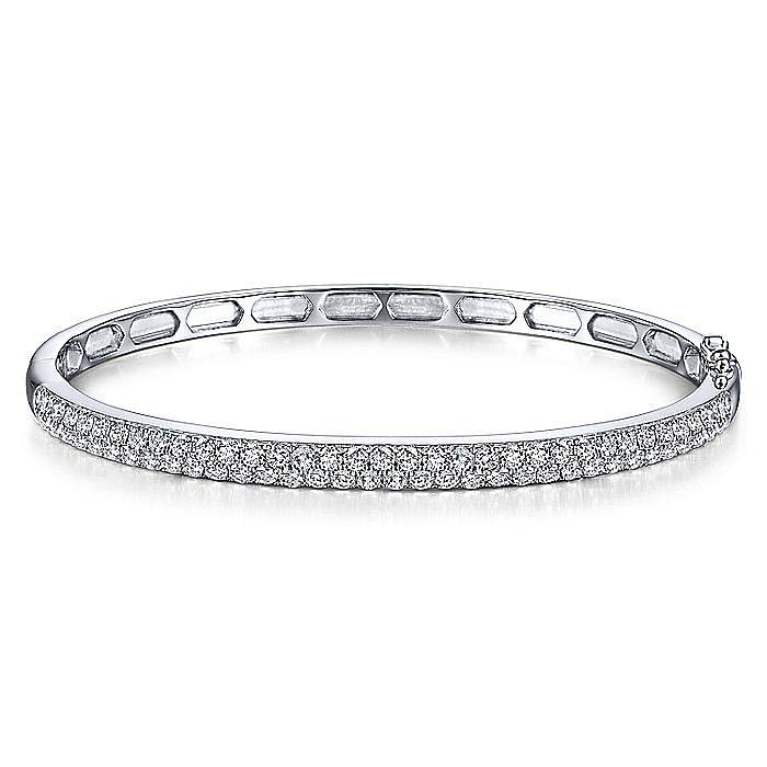 14K White Gold Diamond Pavé Bangle
