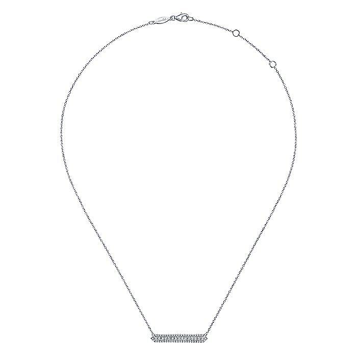 14K White Gold Diamond Pavé Bar Necklace