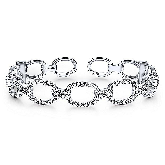 14K White Gold Diamond Pavé Chain Link Cuff Bracelet