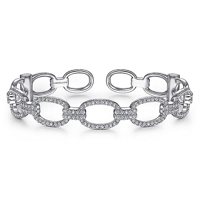 14K White Gold Diamond Pavé Chain Link Cuff Bracelet