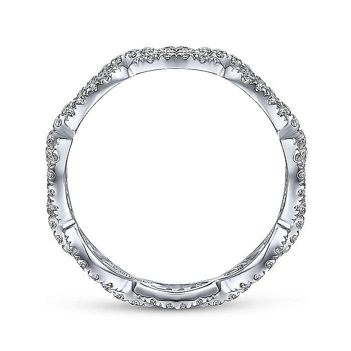 14K White Gold Diamond Pavé Chain Link Eternity Ring