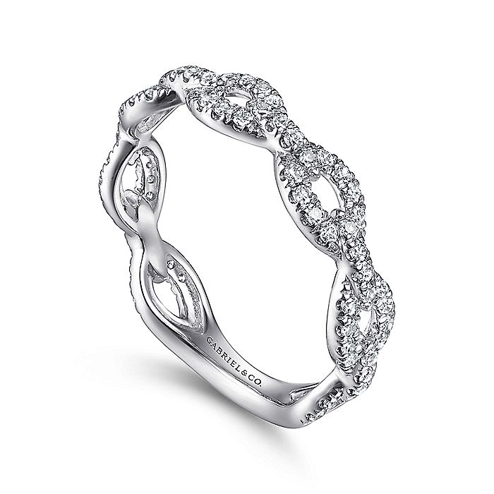 14K White Gold Diamond Pavé Chain Link Stackable Ring