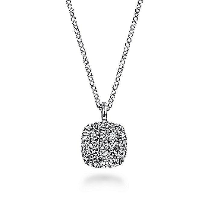 14K White Gold Diamond Pavé Cushion Shaped Pendant Necklace