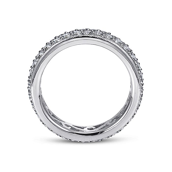 14K White Gold Diamond Pavé Eternity Band with Millgrain